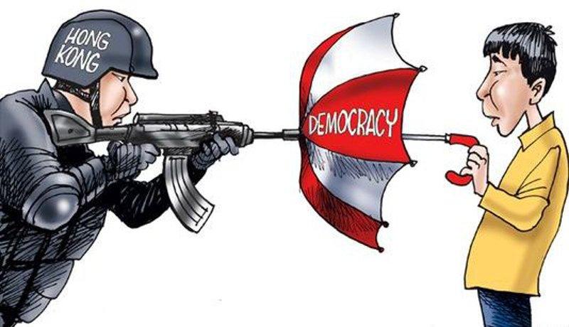 Hong Kong Umbrella Revolution - Cartoon by Gary Varvel