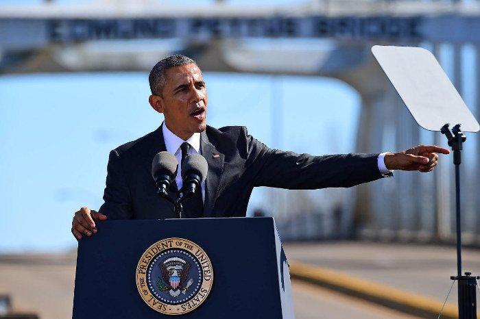 Obama commemorating 50th anniversary of Bloody Sunday at Selma - Photo credit: AP Photo/Bill Frakes